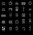 Bedroom line icons with reflect on black