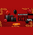 black friday super sale up to 50 off creative red vector image