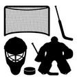 black sports hockey signs set vector image