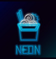 blue glowing neon line asian noodles in paper box vector image vector image