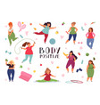 body positive concept fat woman plus size models vector image