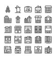buildings landmarks line icons 5 vector image