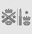 Butterfly Knives with Brass Knuckles Crown vector image
