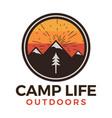 camp life outdoors logo retro camping adventure vector image vector image