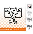 card scissors cut simple black line icon vector image