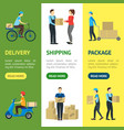 cartoon delivery workers banner vecrtical set vector image vector image