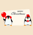 christmas greeting card with two funny penguins vector image