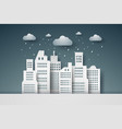 cityscape with rain paper art style vector image vector image