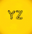 dot alphabet from y to z vector image vector image