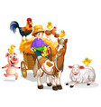Farmer and many farm animals vector image