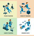 fitness center isometric sport athlete people vector image vector image