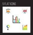 flat icon diagram set of diagram statistic chart vector image