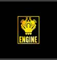 golden engine power emblem vector image