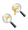 golden kazakhstani tenge currency sign vector image