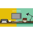 graphic design profession workdesk monitor printer vector image vector image