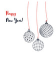 greeting card with christmas balls hand drawn new vector image vector image