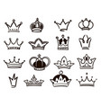 hand drawn crown logo collection sketch set vector image
