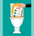 hand puts election bill in toilet vector image vector image