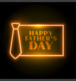 happy fathers day neon style card design vector image