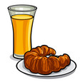 juice and croissant vector image vector image