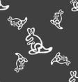 Kangaroo Icon sign Seamless pattern on a gray vector image vector image