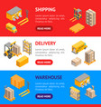 logistic delivery service banner horizontal set vector image vector image