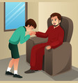 muslim boy kissing his father hand vector image
