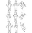 nurse male line art vector image vector image