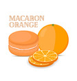 orange macaron with meringue cream vector image vector image