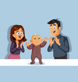 parents applauding bataking its first steps vector image vector image