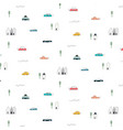 pattern with abstract home car and tree vector image