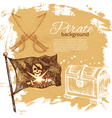 Pirate vintage hand drawn background vector image