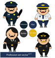 professions set policeman pilot banker taxi vector image