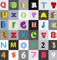 Set of letters in color squares vector image