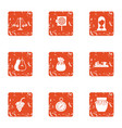 solemn icons set grunge style vector image