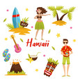 traditional symbols of hawaiian culture set vector image vector image