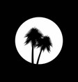 two palm trees on the background of the full moon vector image