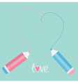 Two pencils drawing big dash heart Love card vector image vector image