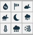 weather icons set with crescent night cold and vector image vector image