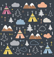wild and free teepees trees cloud pattern vector image