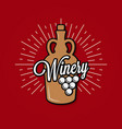 wine jug logo winery label with wine grape vector image vector image