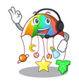 with headphone baby playing with cartoon hanging vector image