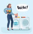 woman housewife washes clothes in washing vector image vector image