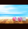 wood floor beach seaside sunglasses towel vector image