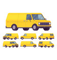 yellow van set vector image vector image