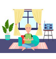 young guy practices yoga at home sport equipment vector image