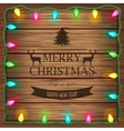 Wooden background with christmas lights and vector image