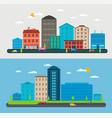 flat design urban landscape composition city scene vector image