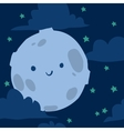 Funny moon with tiny stars seamless background vector image
