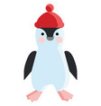 a bapenguin wearing a red warm pompom hat vector image